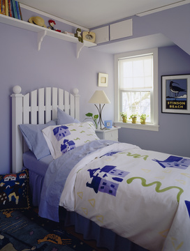 Kids Bedroom With White Picket Fence Bed Frame Blue Beddin